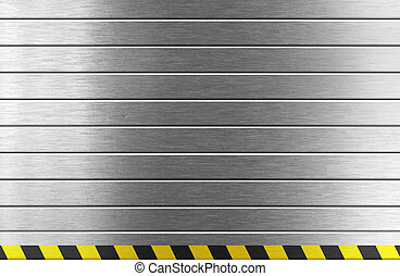 silver metal background with hazard stripes