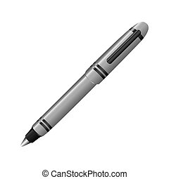 silver metal ballpen icon, vector illustraction design image