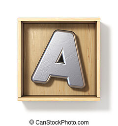 Silver metal letter A in wooden box 3D