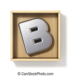 Silver metal letter B in wooden box 3D