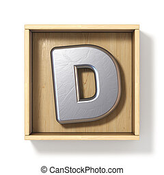 Silver metal letter D in wooden box 3D