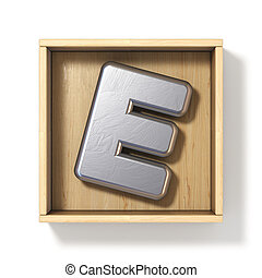 Silver metal letter E in wooden box 3D