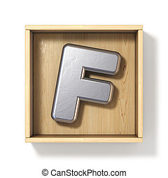 Silver metal letter F in wooden box 3D