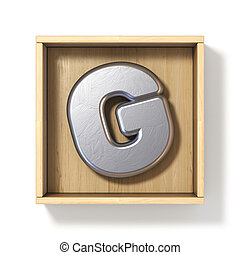Silver metal letter G in wooden box 3D