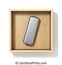 Silver metal letter I in wooden box 3D