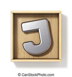 Silver metal letter J in wooden box 3D