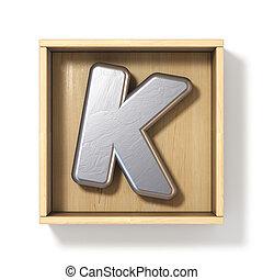 Silver metal letter K in wooden box 3D