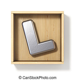 Silver metal letter L in wooden box 3D