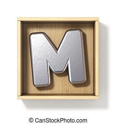 Silver metal letter M in wooden box 3D