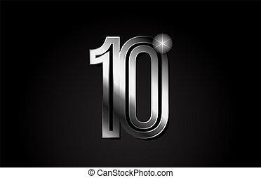 silver metal number 10 logo icon design
