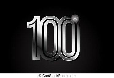 silver metal number 100 logo icon design