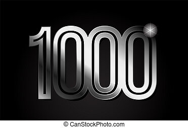 silver metal number 1000 logo icon design