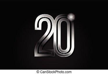 silver metal number 20 logo icon design