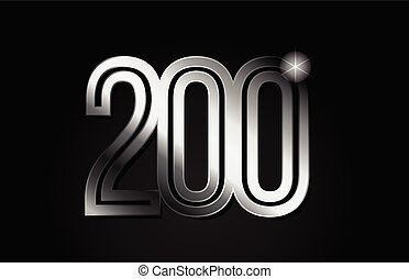 silver metal number 200 logo icon design