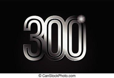 silver metal number 300 logo icon design
