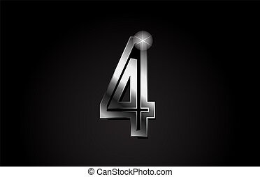silver metal number 4 logo icon design