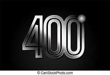 silver metal number 400 logo icon design