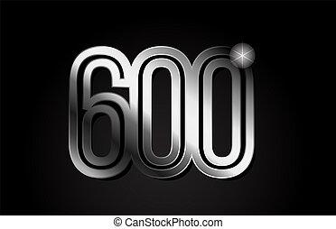 silver metal number 600 logo icon design