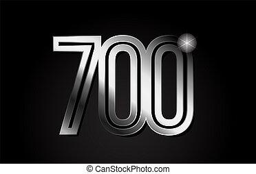 silver metal number 700 logo icon design