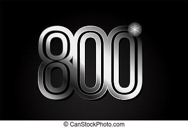 silver metal number 800 logo icon design