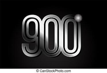 silver metal number 900 logo icon design