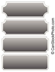 Silver metal plaques, plaquettes, plates with blank space
