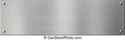 silver metal plate or plaque with rivets - metal plate or...