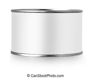 Silver metal tin can with white label isolated on white background.