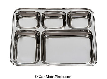 Silver Metal Tray Isolated with clipping path