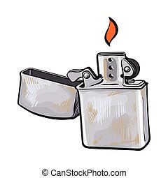Silver metal windproof lighter with flame, sketch vector illustration