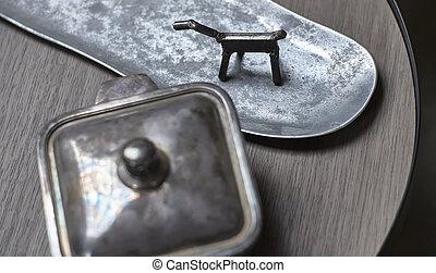 silver., metall, verzierungen