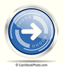 Silver metallic chrome border blue glossy next arrow icon,...