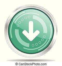 Silver metallic chrome border green glossy down arrow icon,...