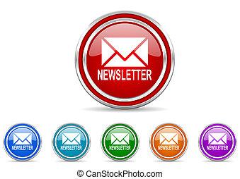 silver metallic chrome border newsletter vector icons set