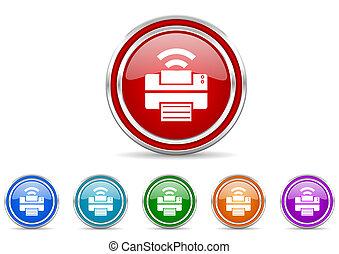 silver metallic chrome border printer vector icons set