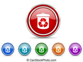 silver metallic chrome border recycling trash can icons set