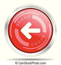 Silver metallic chrome border red glossy left arrow icon,...