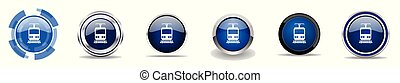 Silver metallic chrome border train vector icons, set of subway web buttons, round railway blue signs in eps 10