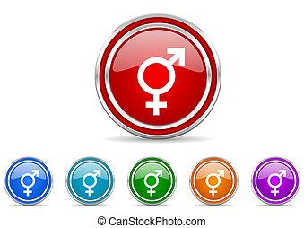 silver metallic chrome border transgender vector icons set