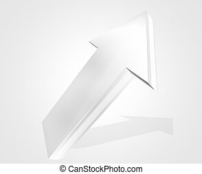 silver metallic colored arrow to top 3d render background