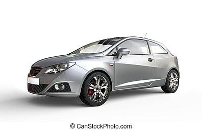 Silver Metallic Compact Modern Car