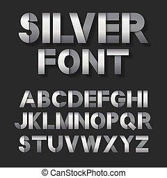 Silver metallic font set