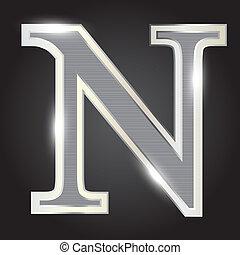 Silver metallic fonts vector illustration