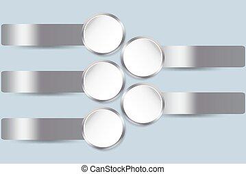 Silver metallic infographic vector