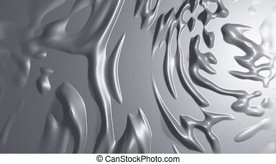 silver metallic liquid surface with uneven emerging and ...