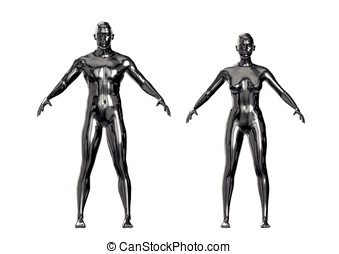 Silver metallic man and woman