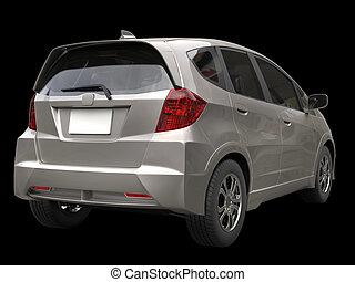 Silver metallic modern compact car - back view