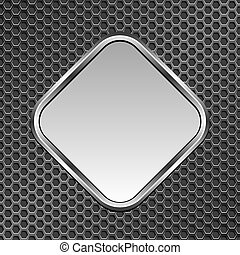 silver metallic plaque on metal grate