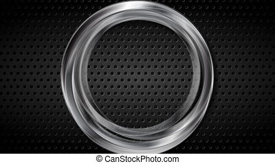 Silver metallic ring on black perforated background video animation