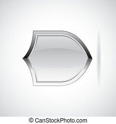 Silver metallic shield vector icon
